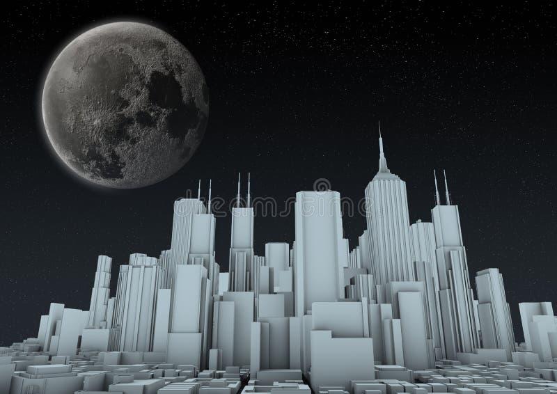 Nachtzeitstadt lizenzfreie abbildung