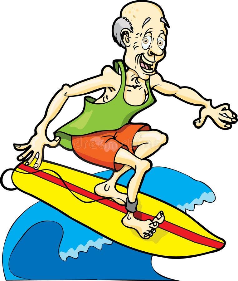 Nacido en el baby-boom que practica surf stock de ilustración