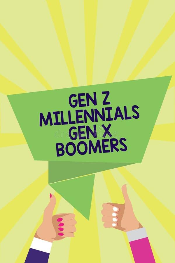 Nacidos en el baby-boom de la GEN Z Millennials Gen X del texto de la escritura El concepto que significa a vieja gente joven de  ilustración del vector