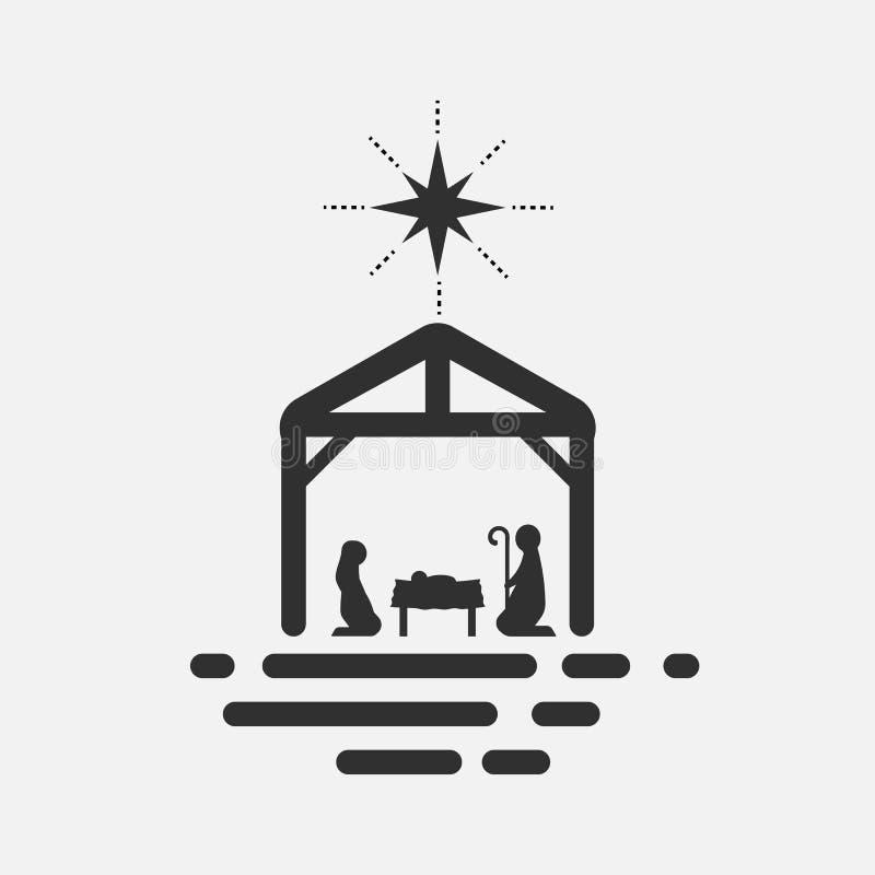 Nacimiento de Cristo, silueta de Maria, de José y de Jesús en el fondo blanco Ilustración del vector stock de ilustración