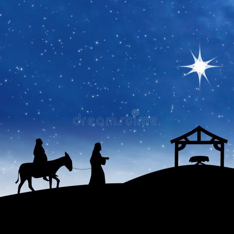 Nacimiento de Jesús de la natividad con la estrella en escena azul de la noche stock de ilustración