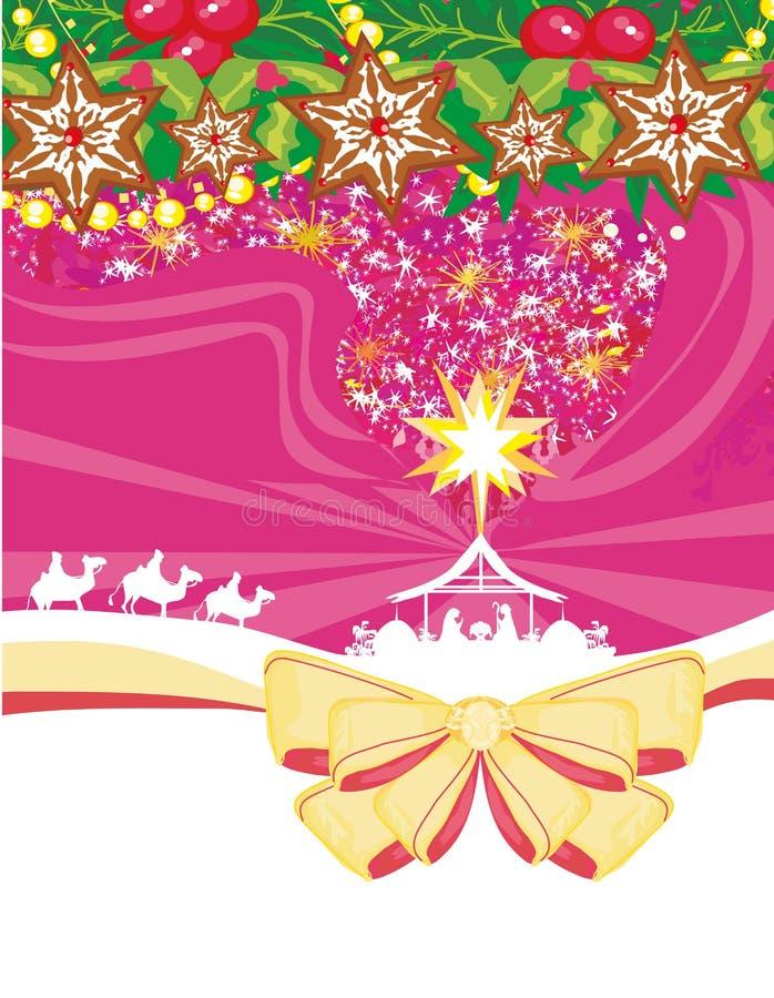 Nacimiento de Jesús en Belén - tarjeta de Navidad decorativa stock de ilustración