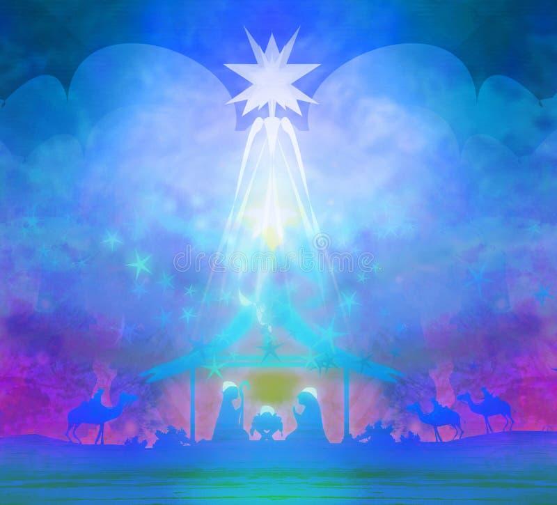 Nacimiento de Jesús en Bethlehem ilustración del vector