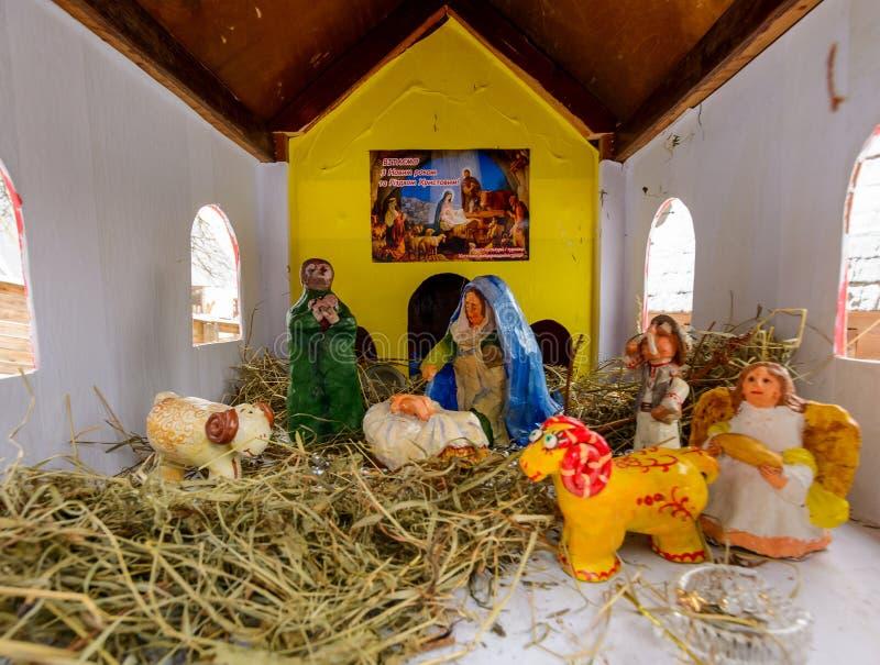 Nacimiento de la escena de Cristo de la biblia fotografía de archivo