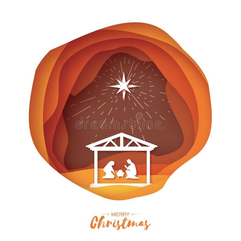 Nacimiento del bebé Jesús de Cristo en el pesebre Familia santa magi Estrella de S de Belén - cometa del este La Navidad de la na stock de ilustración
