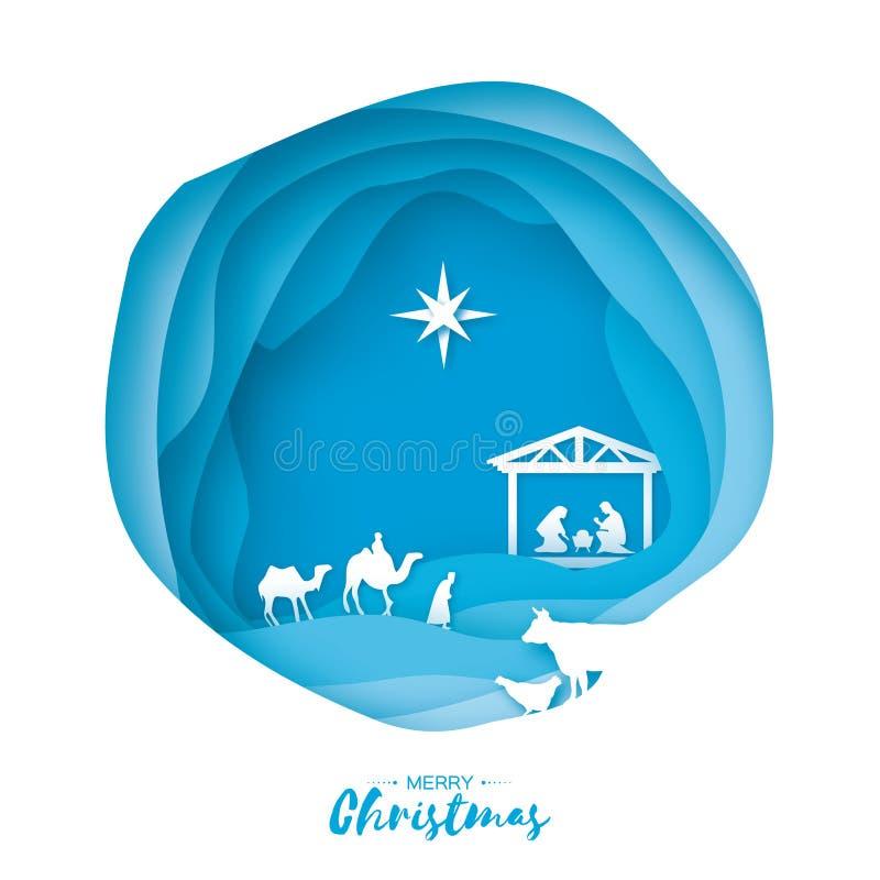 Nacimiento del bebé Jesús de Cristo en el pesebre Familia santa magi Tres reyes y estrellas sabios de Belén - cometa del este stock de ilustración