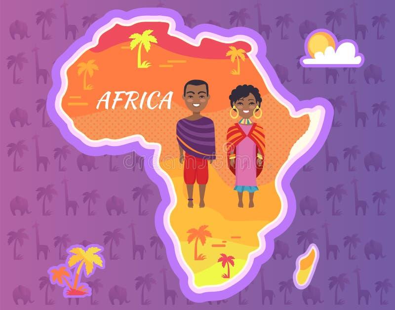 Nacional africano dos povos do vetor do continente de África ilustração stock