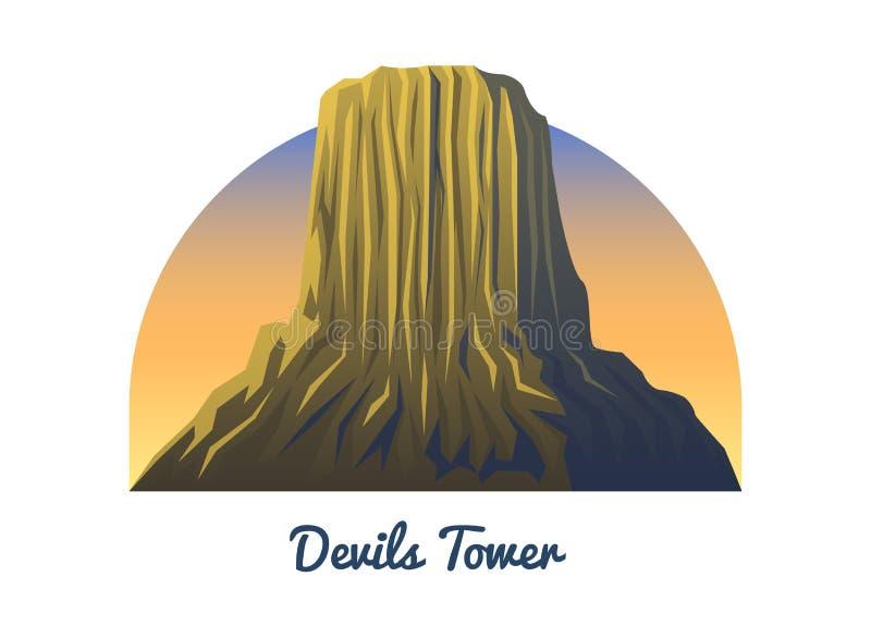 Nacional de la torre de los diablos El monumento enarbola, paisaje temprano en una luz del día viaje o el acampar, subiendo Tops  stock de ilustración