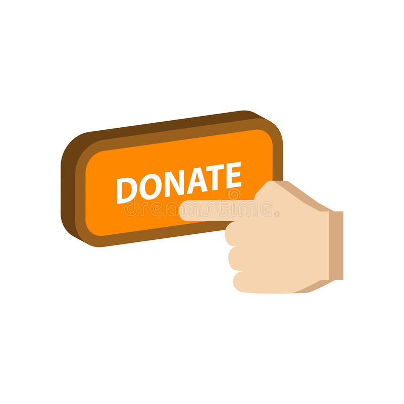 Naciskający daruje guzika, darowizna symbol ilustracji
