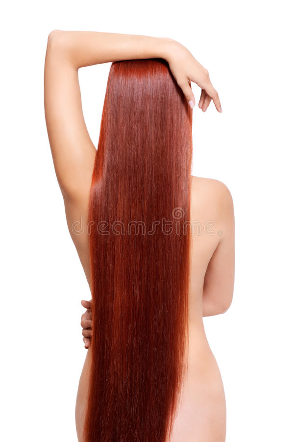 Nackte Frau mit dem langen roten Haar lizenzfreie stockfotografie