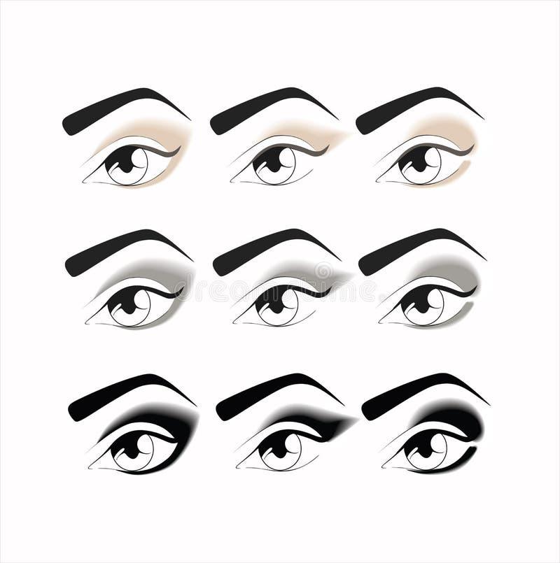 Nacktes Make-up Augenmake-up jeden Tag verfassung Schöne Augen-Retro Art-Make-up verschiedenes O vektor abbildung