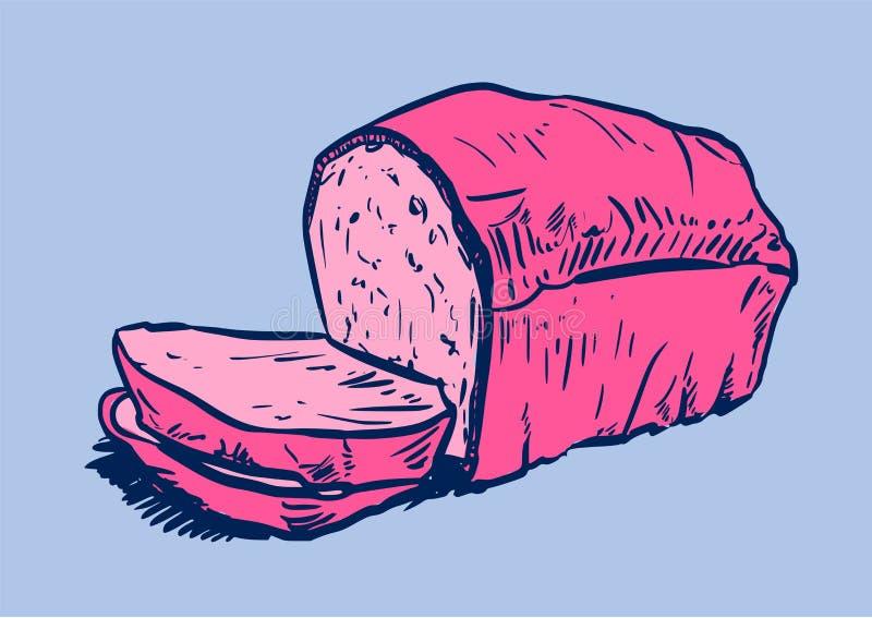 Naco de pão com fatias de pão à parte dianteira ilustração royalty free