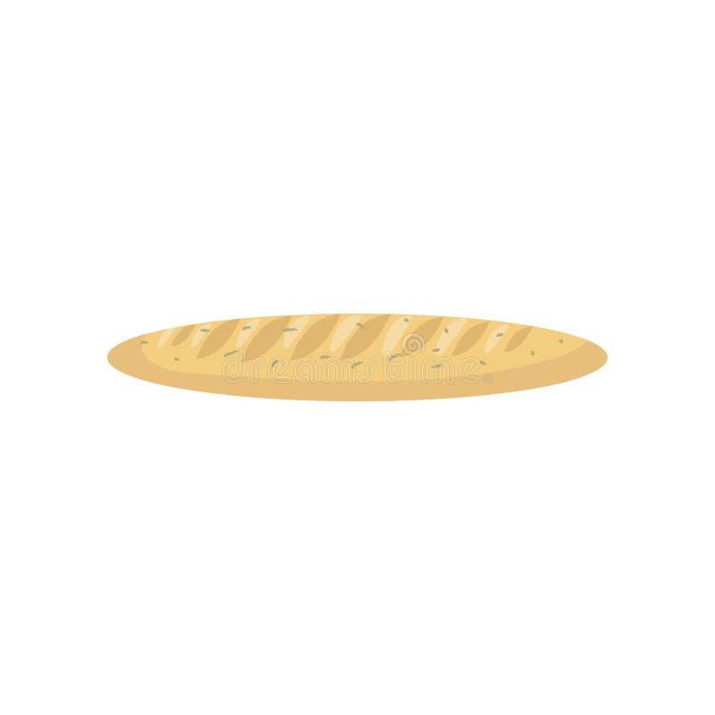 Naco longo do pão branco recentemente cozido, baguette francês, projeto liso Ícone do alimento para a loja do menu ou da padaria  ilustração stock