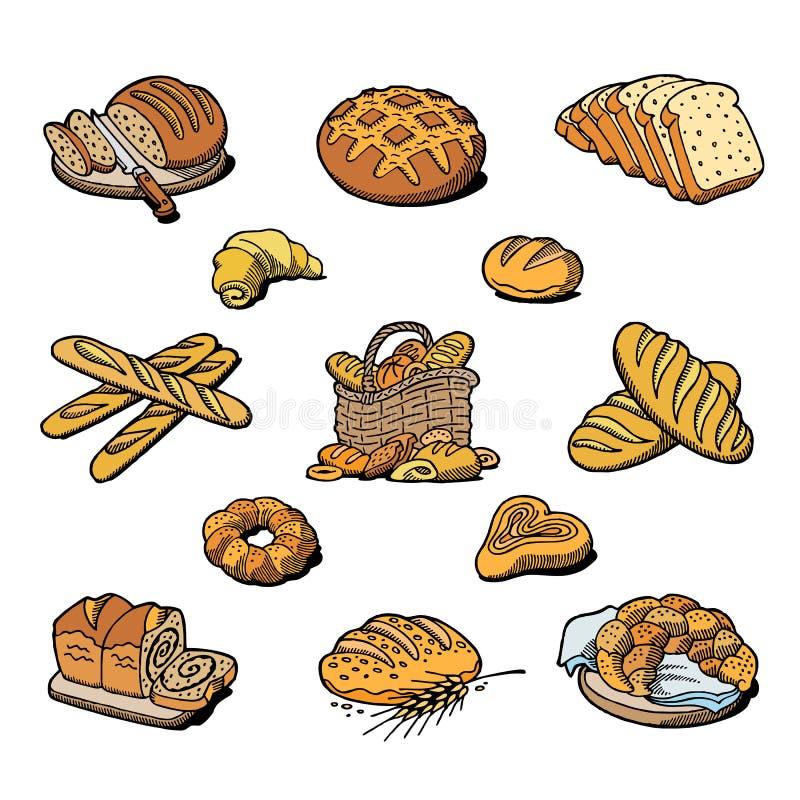 Naco ou baguette da refeição do breadstuff do cozimento da padaria e do pão cozido pelo padeiro na ilustração do grupo da padaria ilustração stock