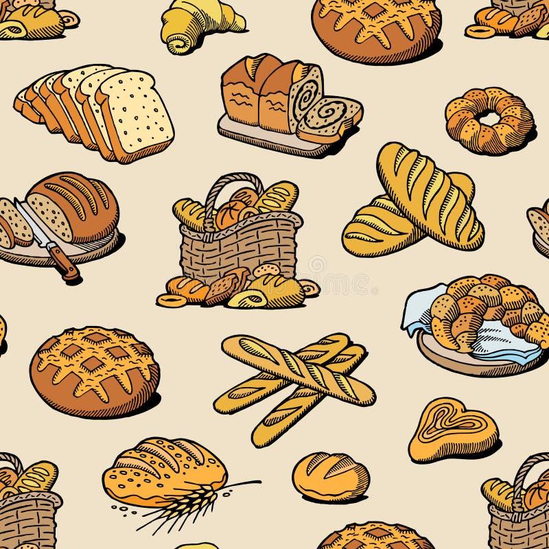 Naco ou baguette da refeição do breadstuff do cozimento da padaria e do pão cozido pelo padeiro no teste padrão sem emenda da ilu ilustração stock