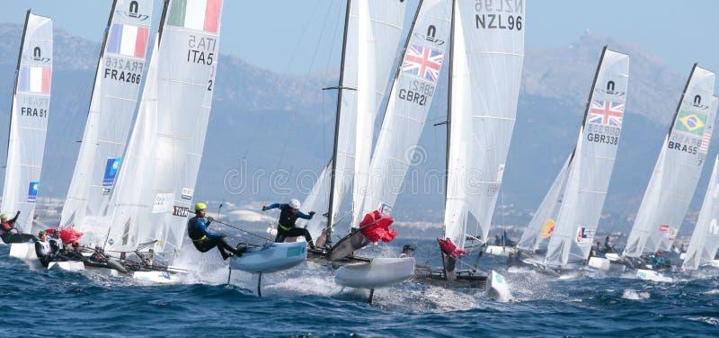 Nacra 17 class sailing during regatta in palma de mallorca wide view royalty free stock image