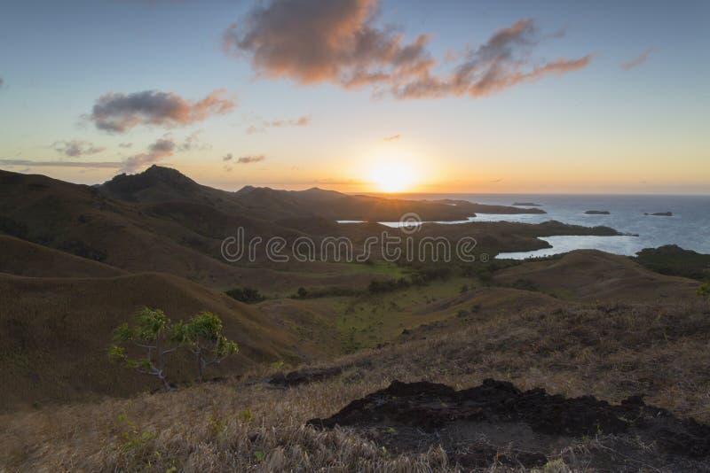 Nacula ö på gryning, Yasawa öar, Fiji fotografering för bildbyråer