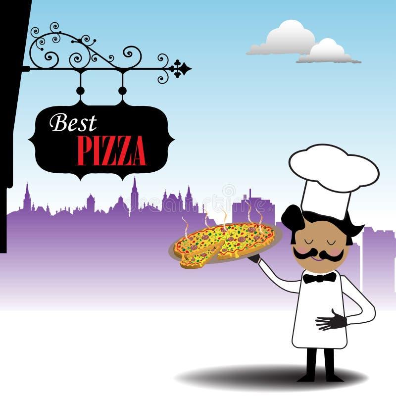 naczelna gorąca pizza royalty ilustracja