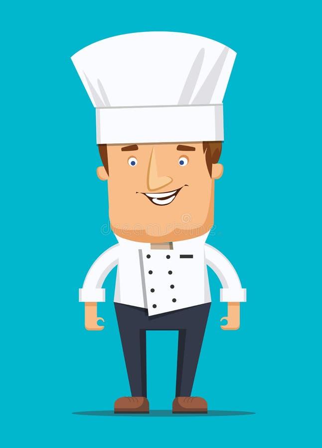 Naczelny szefa kuchni kucharz w kuchennej luksusowej restauraci w jednolitej ilustraci royalty ilustracja