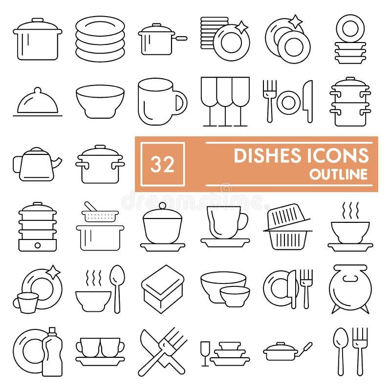 Naczynia cienieją kreskowego ikona set, kuchenni symbole kolekcja, wektorów nakreślenia, logo ilustracje, tableware znaki liniowi ilustracja wektor