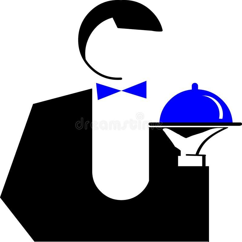 naczynia ilustracyjny mężczyzna kelner royalty ilustracja
