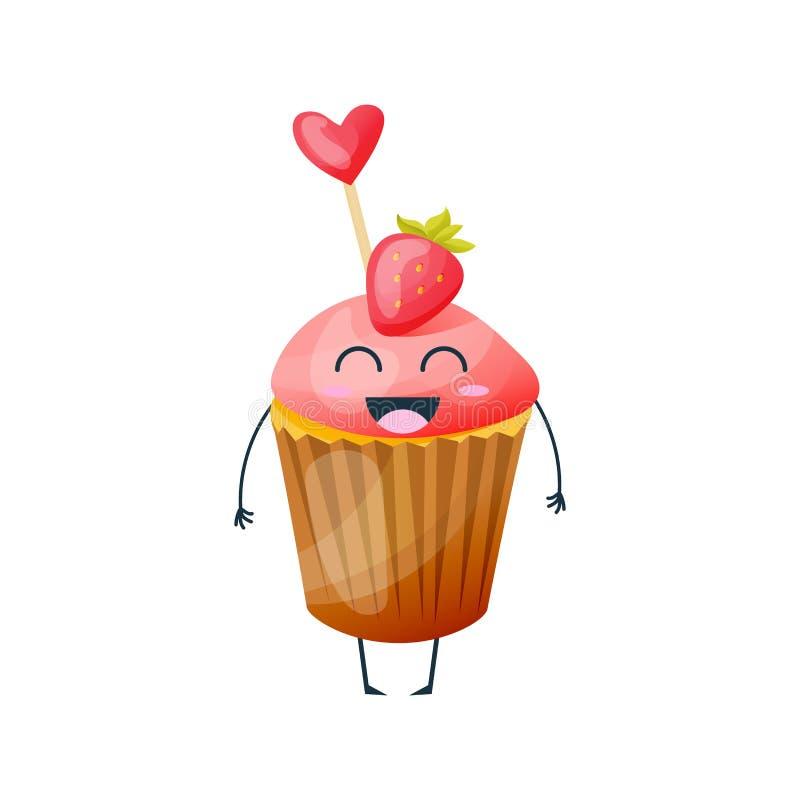 Naczynia od fasta food Rozochocony, śmieszny, słodki, owoc tort, babeczka ilustracji