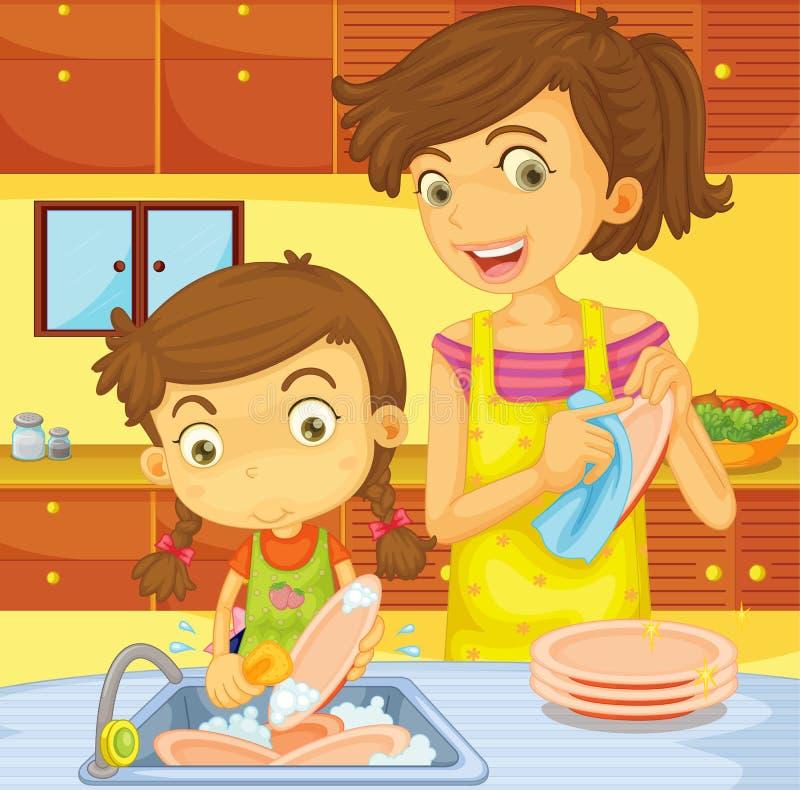 naczynia pomaganie ilustracja wektor
