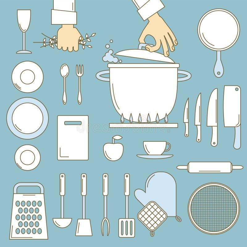 Naczynia z kucharz rękami royalty ilustracja