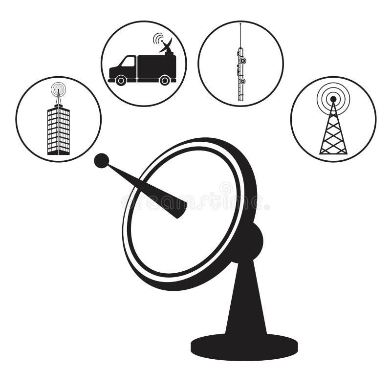 Naczynie anteny nadajnika radio ilustracja wektor