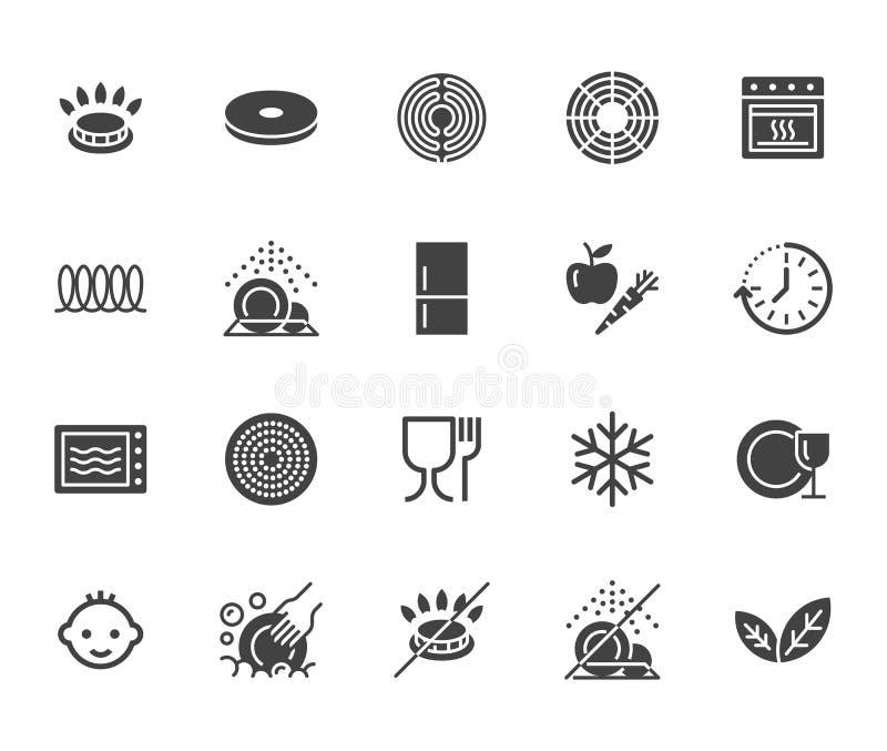 Naczynie glifu płaskie ikony ustawiać Benzynowy palnik, indukcji kuchenka, ceramiczny hob, kija narzut, mikrofala, zmywarkiego do ilustracji