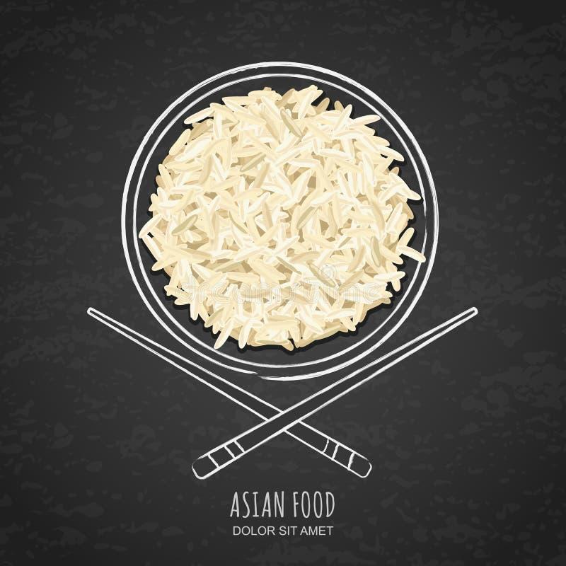 Naczynie gotowani biali ryż i chopsticks na grunge czernimy chalkboard tło Odgórny widok ilustracji