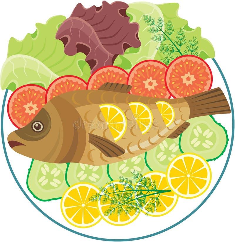 naczynie piec ryba ilustracji