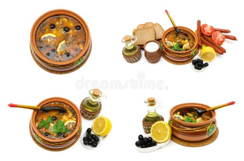 Naczynie rosyjska mieszaniny polewka w ceramicznym garnku i innym foodstu fotografia royalty free