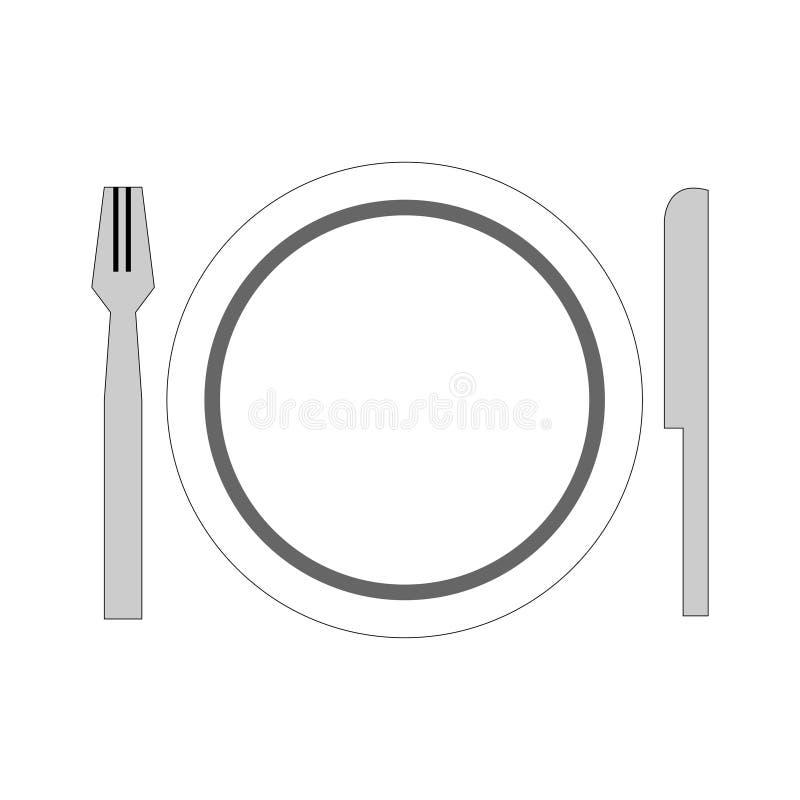 naczynie setu talerza łyżkowego rozwidlenia pusty tło royalty ilustracja
