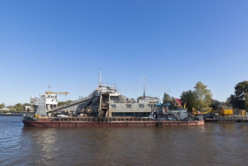 Naczynie SH-402, projektujący dla nieść out bagruje pracy na Białym jeziorze blisko miasteczka Belozersk w Vologda regionie obrazy stock