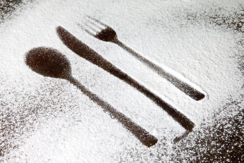 Naczynie sylwetka w cukrowym pyle zdjęcia stock