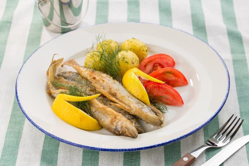 Naczynie z sardynkami smażyć, gotowanymi grulami, cytryną i świeżymi pomidorami na tekstylnym tle, zdjęcia royalty free
