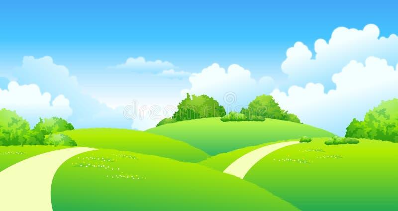 nad ścieżką wyginający się zielony krajobraz ilustracji