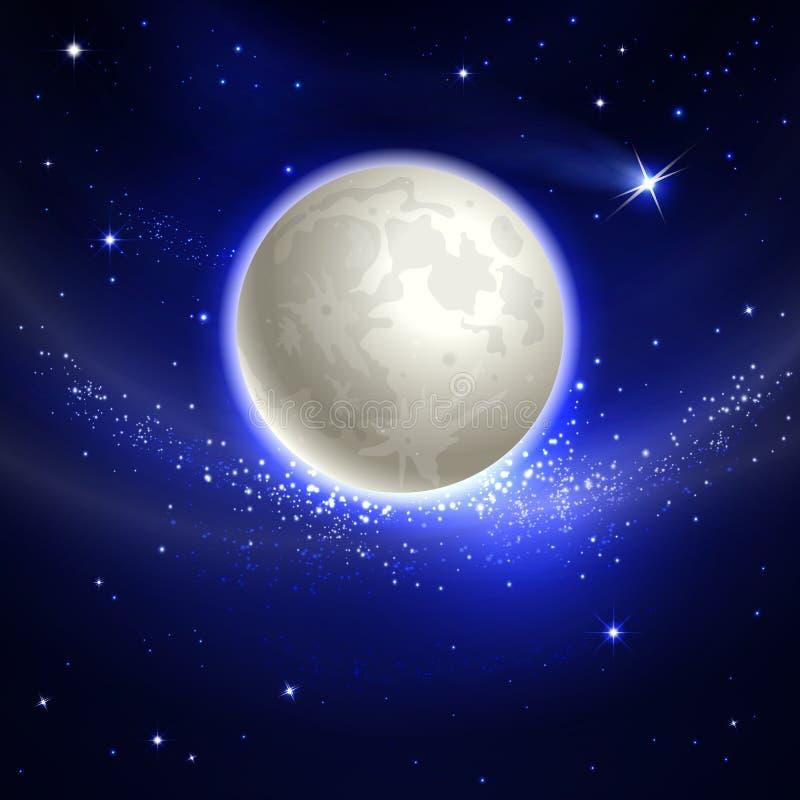 nad chmury księżyc komputerowa noc przetwarzał niebo grać główna rolę one ilustracja wektor