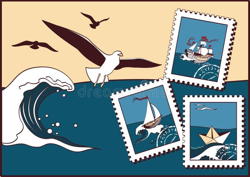 nad dennymi seagulls ilustracja wektor