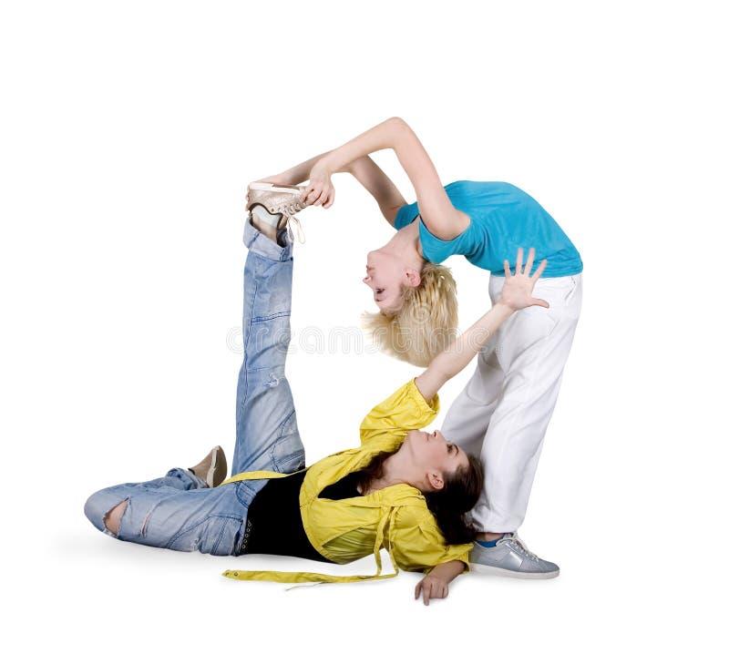 nad nastoletnim biel dziewczyny dancingowy hip hop zdjęcie royalty free