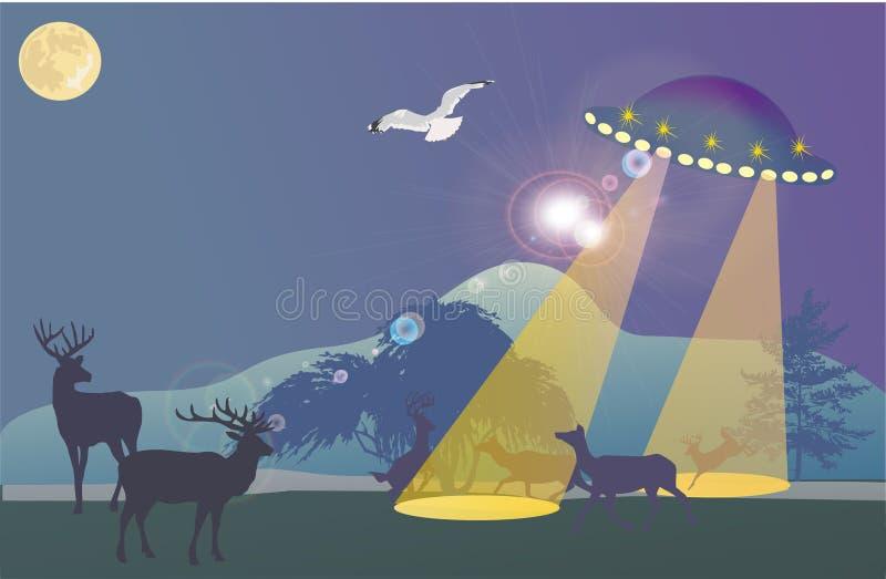 nad noc lasowy ufo royalty ilustracja