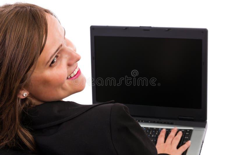 Nad ona przyglądający bizneswomanu plecy musi zdjęcia royalty free