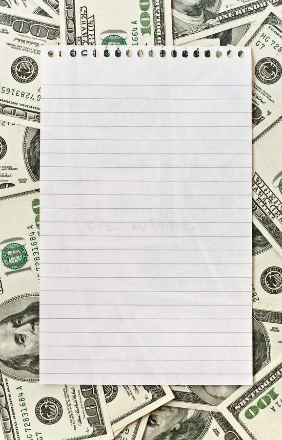 nad papierowym biel pusty tło pieniądze zdjęcie stock