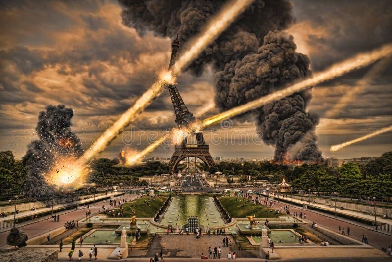 Nad Paryską Wieża Eifla meteoryt prysznic ilustracja wektor