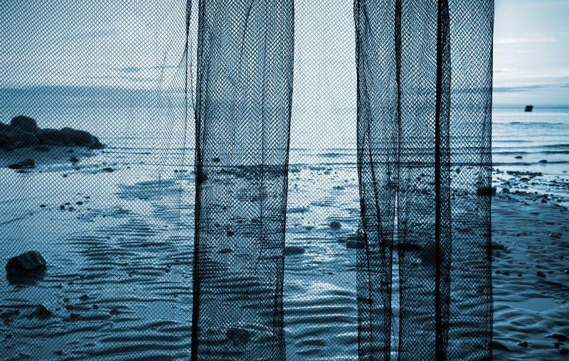 nad połowu czerepu krajobrazu sieci morze fotografia stock