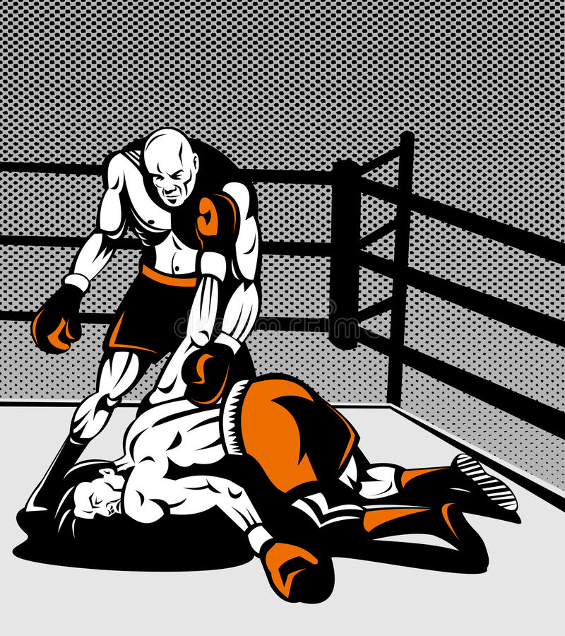 nad pozycją boksera nokaut ilustracja wektor