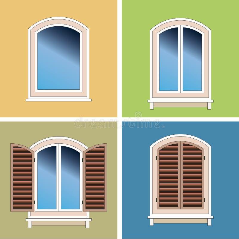nad sztukateryjnymi okno łukowaty tło cztery ilustracja wektor