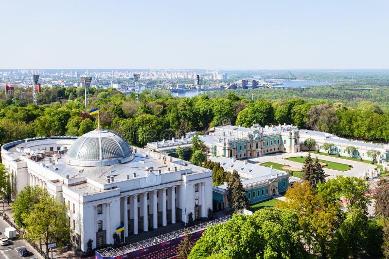 Nad widok Kijowski miasto w wiośnie zdjęcia royalty free