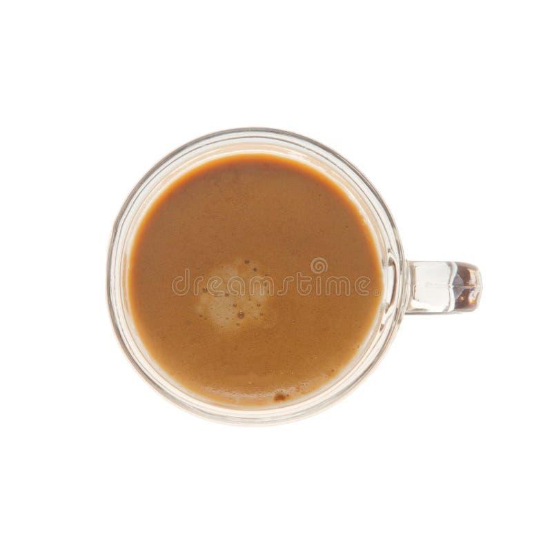 Nad widoku od kawy espresso strzału szkło fotografia stock